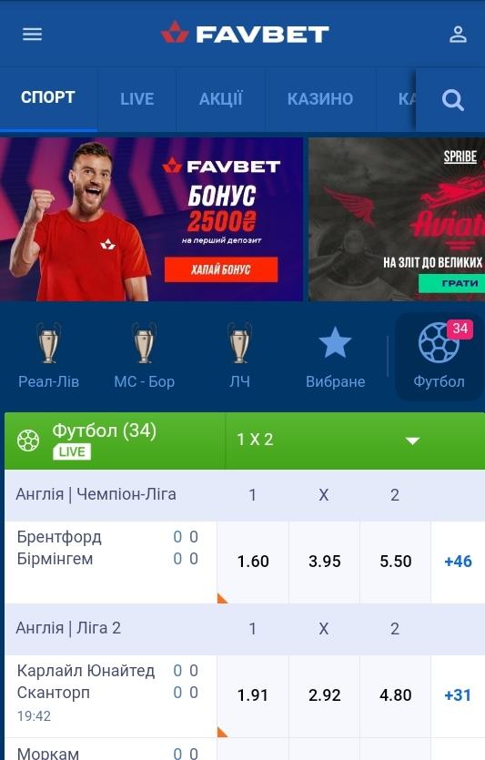 Мобільний додаток FavBet
